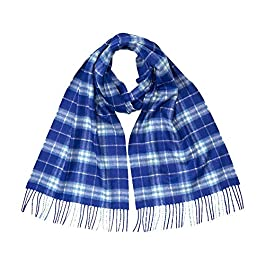 Burberry Classic Cashmere Scarf in Check – Bright Lapis
