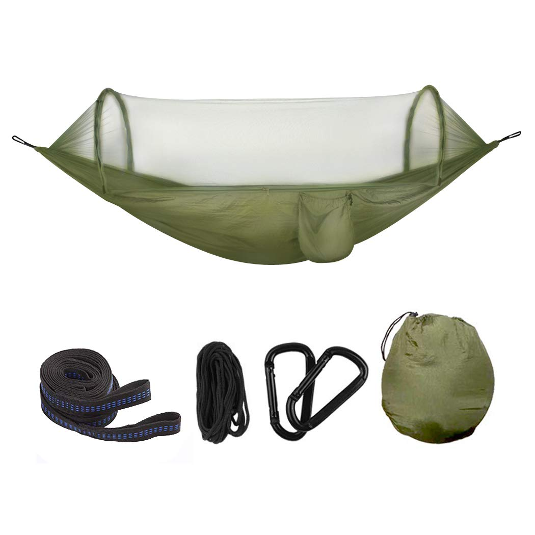 Double Hammock with Bug net for Outdoors Backpacking Hiking Indoors Backyard Garden Novpeak Camping Hammock with Mosquito Net ArmyGreen