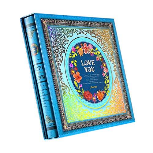 Names X 500 Full Colour - LANNA SHOP- Retro Photo Album, Anniversary Album, Wedding Album, Memo Album, For 500 Photos (31x30.9x5.5cm) (Color : Blue)