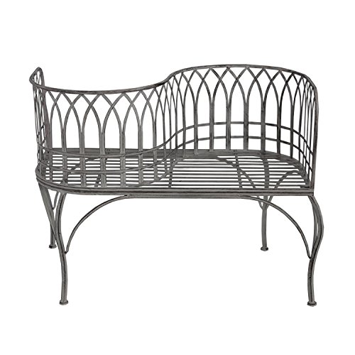 Oakland Living AZXA018-LOVER-BENCH-AG Curved Courting Bench Loveseat, Antique Grey