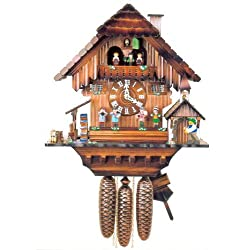 Original Black Forest Cuckoo Clock House with Shingle Roof, Bell Ringer and Many Moving Figures 18 Inch