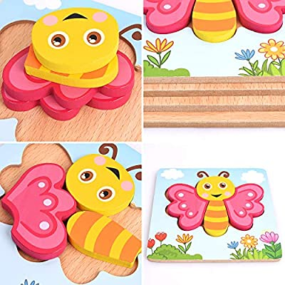 Wooden Jigsaw Puzzles for Toddlers, XREXS Bright Color Animal Shapes Puzzles, Educational Learning Toys Gift for 1 2 3 Years Old Babies Boys Girls 4 Packs: Toys & Games