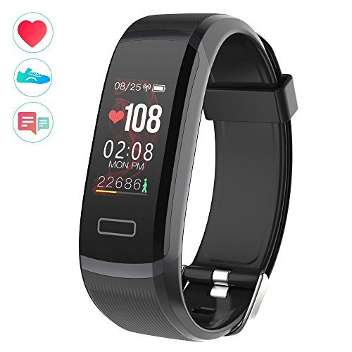 WearPai Fitness Tracker with Realtime Heart Rate Monitor, HD Colorful Screen Activity Tracker with Sleep Monitor, Smart Wristband Bracelet for Android and iOS (Dark Grey Dial Case and Black Band)