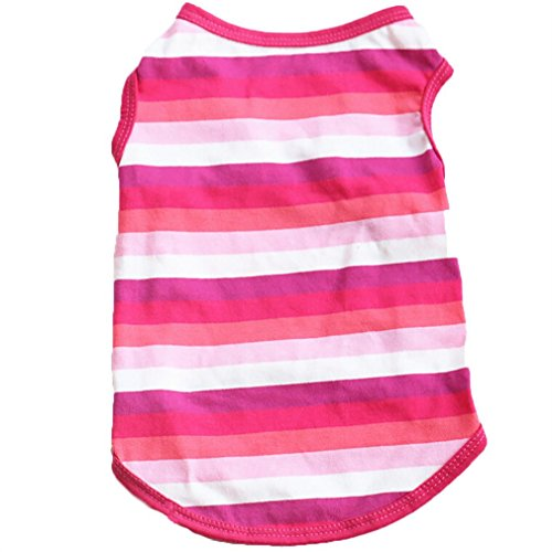 Puppy Clothes, Pet Small Dog Cat Cute Striped Vest Tee Shirts Doggy T-shirt Spring Summer Apparel (Pink, M)