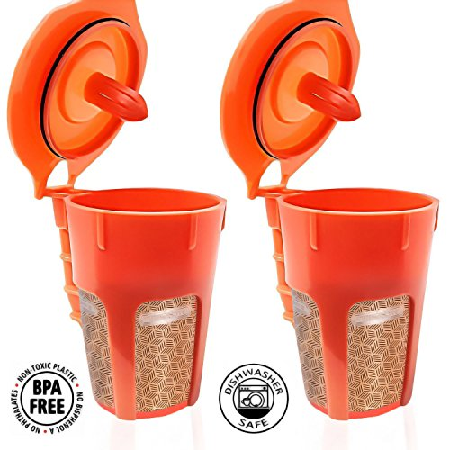 Fill N Save 2 Pack Reusable Carafe K-Cups. Reusable coffee filter for the Keurig 2.0, K200, K300, K400, K500 Series of Machines (Gold Filter) (Carafe Refillable Filters compare prices)