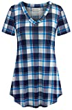 90s Plaid Shirt,Nandashe Young Woman Trendy Elegant Short Sleeve Notch Collar Checkered Grid Draped Hemline Soft Loose Fit Relax Lesuire Button Essential Tunic T-shirts Extra Large Sky Blue US Size 12