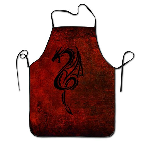 XCGWA Dragon Red Black Deluxe Aprons Personalized Printing Kitchen ()