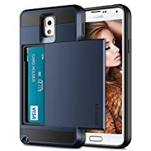 Galaxy Note 3 Case, Vofolen Galaxy Note 3 Wallet Cover Carrying Case Armor Slim Fit Protective Shell Hard PC Case + Soft TPU Bumper Cover with Card Holder Slot for Samsung Galaxy Note 3 (Dark Blue)
