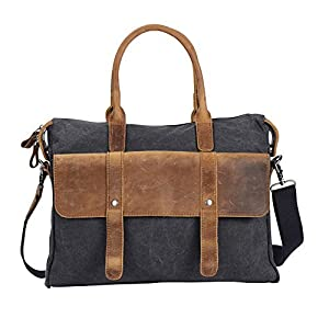 Wonder Youth Vintage Laptop Messenger Bag Briefcase Canvas Leather Crossbody Shoulder Bag - Black 17