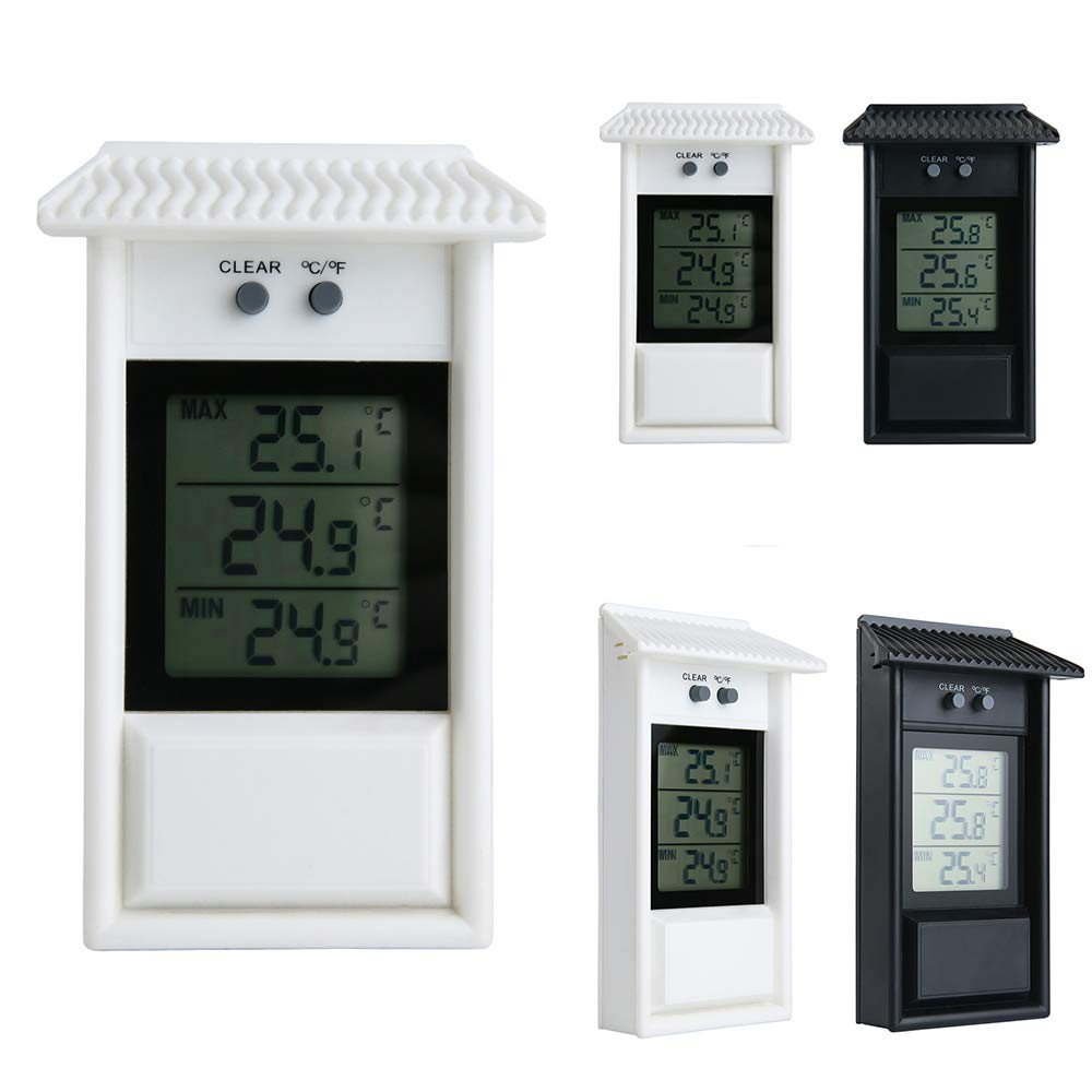 A0ZBZ Digital MAX Min Greenhouse Thermometer Monitor Maximum and Minimum Temperatures Use Garden Greenhouse Home Used Indoor Outdoor Hook Hole Wall Mounted