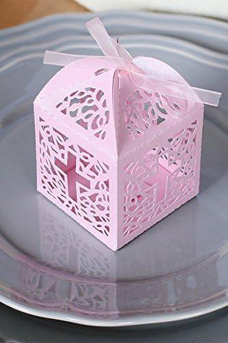 12 PC rosa Cruz corte láser boda novia favor caja bautizo bebé ...