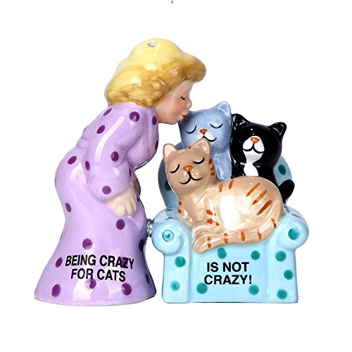 Pacific Giftware Crazy for Cats Lady Ceramic Magnetic Salt and Pepper Shaker Set -