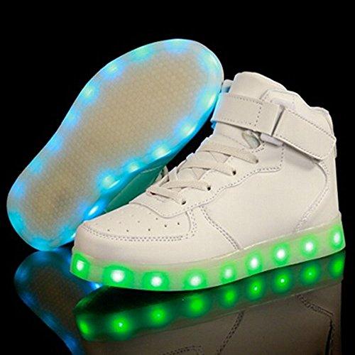 luckfugui Kinderweihnachtskleinkind-Mädchen-Mädchen LED beleuchtet Schuhe 11 Farben-hohe Spitzen-blinkende Turnschuhe kühles Licht, Hiphop-Schuhe, Straßentanz-Schuhe Weiß2