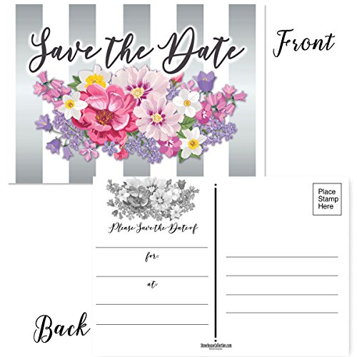 50 Floral Save The Date Postcards - 4