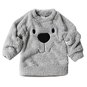 Xifamniy Infant Unisex Babies Thicken Pullover Solid Color Cartoon Bear Print Tops Gray