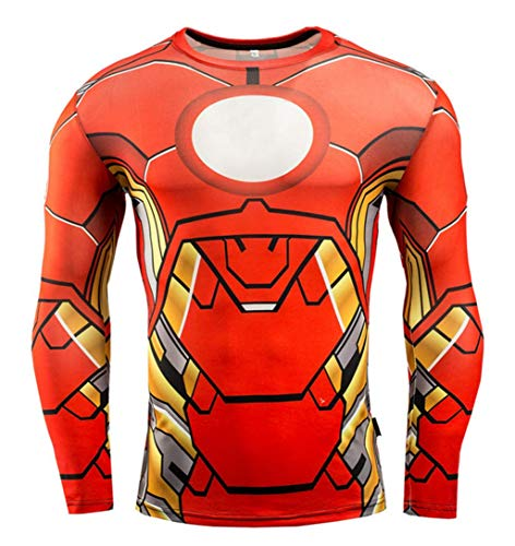 HIMIC E77C Hot Movie Super Hero Quick-Drying ElasticT-Shirt Costume (XX-Large, Iron Long Sleeve 4) -