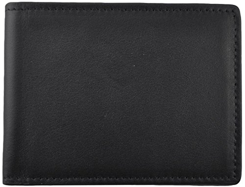 Engraved Black Leather (Royce Leather 100 Step Wallet, Men's Bifold Wallet Handmade in American Genui...)