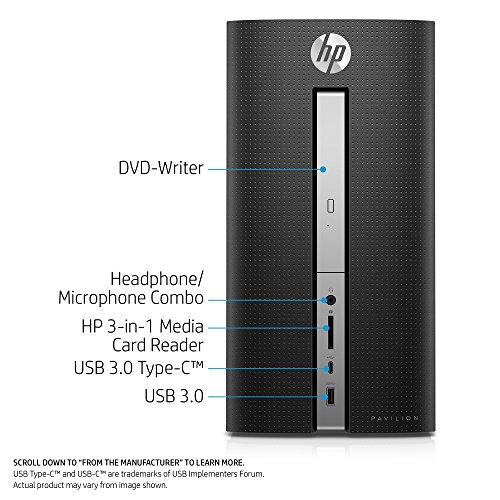 HP Pavilion Desktop Computer, Intel Core i5-7400, 8GB RAM, 1TB hard drive, Windows 10 (570-p020, Black) by HP (Image #1)