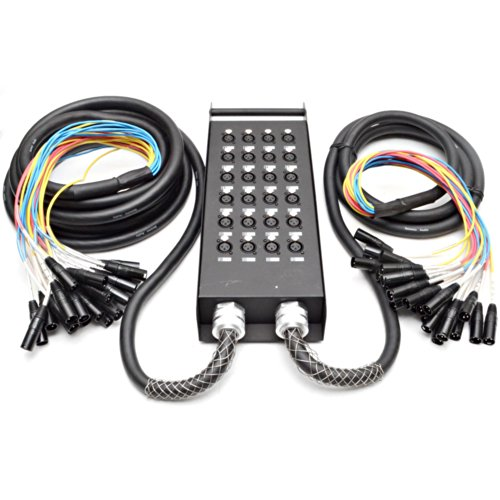 Seismic Audio - New 24 Channel XLR Send Splitter Snake Cable with Box - Two Trunks 15' and 30' Fantails - Pro Audio Stage, Studio, Road Split Y Extension Cables
