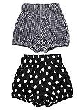 AYIYO Baby Infant Bloomer Shorts Loose Cute Harem Pants for Boys Girls (110cm(3-4T), Dot+Grid)