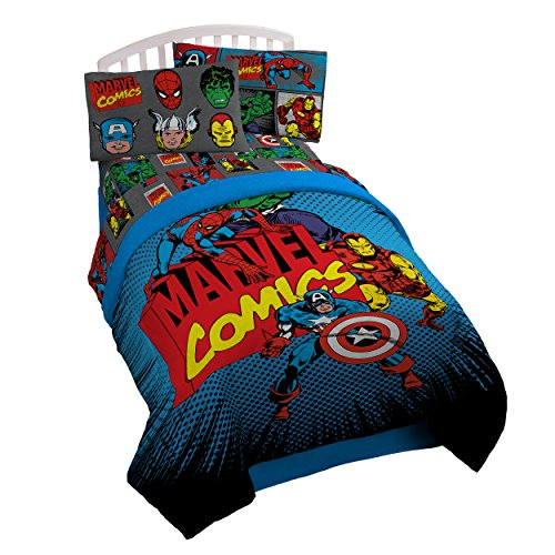 Marvel Superheroes Twin/Full Comforter - Super Soft Kids Reversible Bedding features Captain America and Iron Man - Fade Resistant Polyester Microfiber Fill (Official Marvel Product)