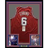 """Framed Autographed/Signed Julius Erving """"Dr. J"""" 33x42 Philadelphia 76ers Sixers Red Basketball Jersey JSA COA"""