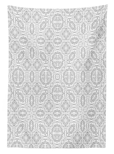 "Ambesonne Grey Tablecloth, Lace Victorian Damask Antique Baroque Design with Oriental Effects Renaissance Art, Rectangular Table Cover for Dining Room Kitchen Decor, 60"" X 90"", White"