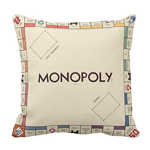 UOOPOO Vintage Monopoly Game Board Throw Pillow Case Square 18 x 18 Inches Soft Cotton Canvas Home Decorative Wedding Cushion Cover for Sofa and Bed Print On One Side ()