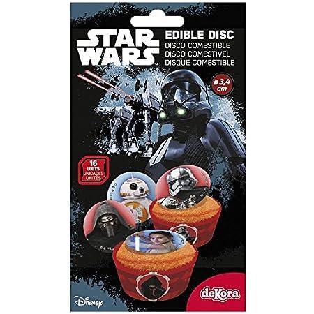 Juego de 16 mini disco azúcar Star Wars - Dark Vador; Rey ...