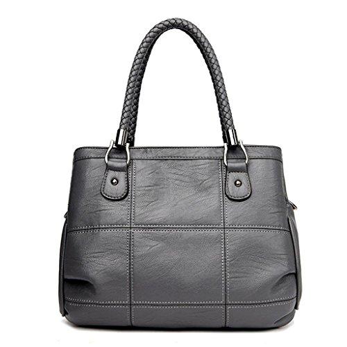 grey moda di semplice colori del black NVBAO obliqua Donna spalla di acquisto singola di La lavora quattro della Spalla cuoio borsa trasversale cucire modo qg80q