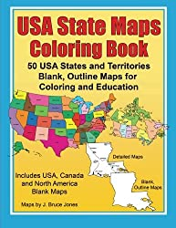 USA State Maps Coloring Book: 50 USA States and Territories, Blank, Outline Maps for Coloring and Education (World of Maps) (Volume 5)