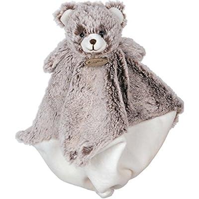 Babynat - Peluches et Doudous - Les Flocons - Doudou semi plat Ours / Nounours brun chiné blanc et blanc - 5 noeuds - Peluche bébé 22 x 22 cm