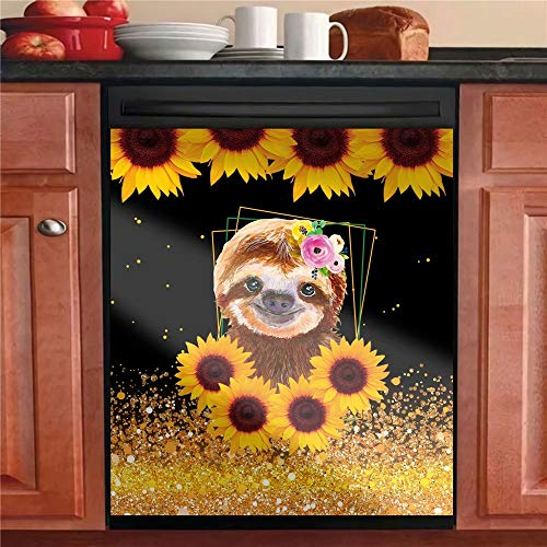Just A Girl Who Loves Sloth Kitchen Dishwasher Sticker,Sunflower Dishwasher Cover For Metal Washers – Decorative…