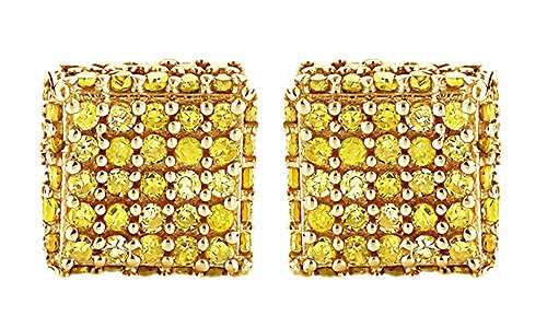 10K Solid Gold Round Cut Yellow Natural Diamond Hip Hop Cluster Stud Earrings (0.53 Cttw) by wishrocks
