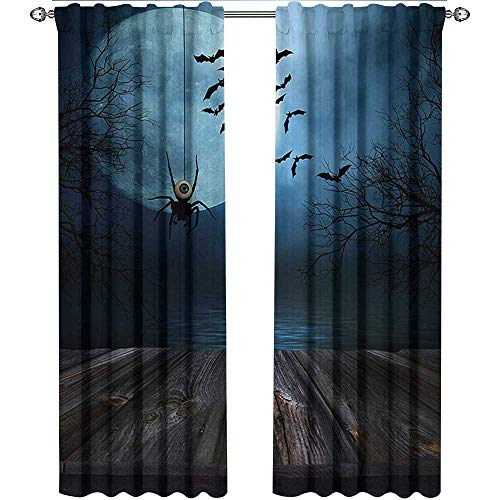 Halloween, Kitchen Curtains and Valances Set, Misty Lake Scene Rusty Wooden Deck Spider Eyeball and Bats with Ominous Skyline, Curtains Kids, W96 x L108 Inch, Blue Brown -