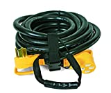 Camco Heavy Duty Outdoor Extension Cord RV Auto Easy PowerGrip Handle- 50 Amp, 6/8-Gauge, Includes Convenient Carrying Strap - 30ft (55195)