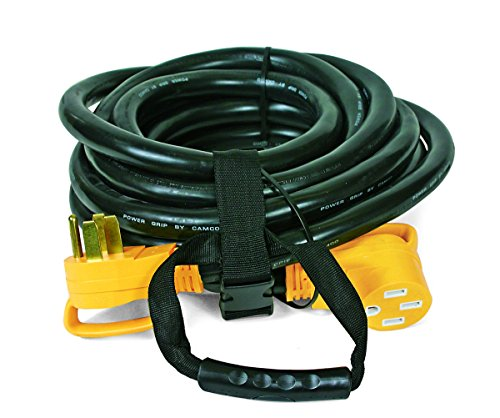 Camco 30' PowerGrip Heavy-Duty Outdoor 50-Amp Extension Cord for RV and Auto | Allows for Additional Length to Reach Distant Power Outlets | Built to Last (55195) (Volt 50' Cord)