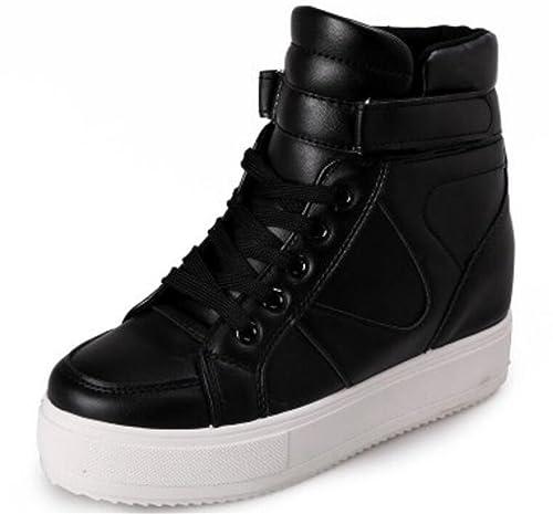 eeba6995afaba SATUKI Women's High Top Wedge Fashion Sneakers Hidden Heel Platform ...