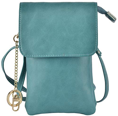 Hopsooken Womens RIFD Small Crossbody Cellphone Purse Wallet Roomy Shoulder Bags(Teal)