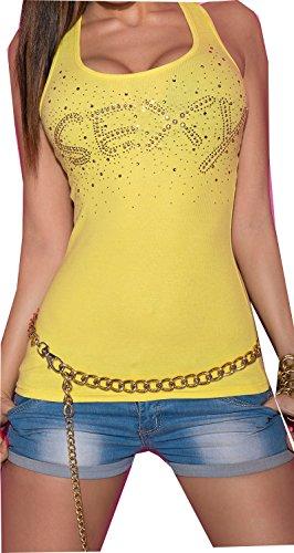 top debardeur koucla jaune motifs sexy fashion femme