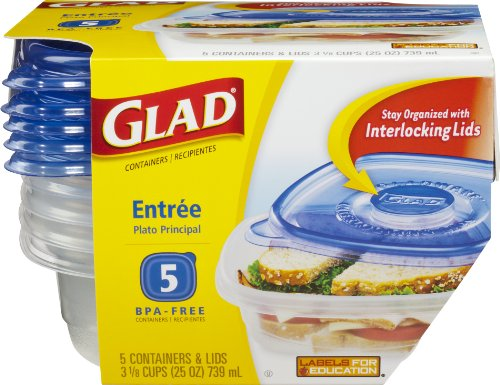 GladWare Entree Containers with Lids, 5-Containers (Container Ware)