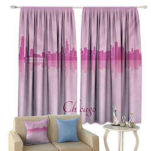 Light Luxury high-end Curtains Chicago Skyline United States Scenery in Soft Tones Urban Downtown Illustration Darkening and Thermal Insulating Pale Pink Fuchsia