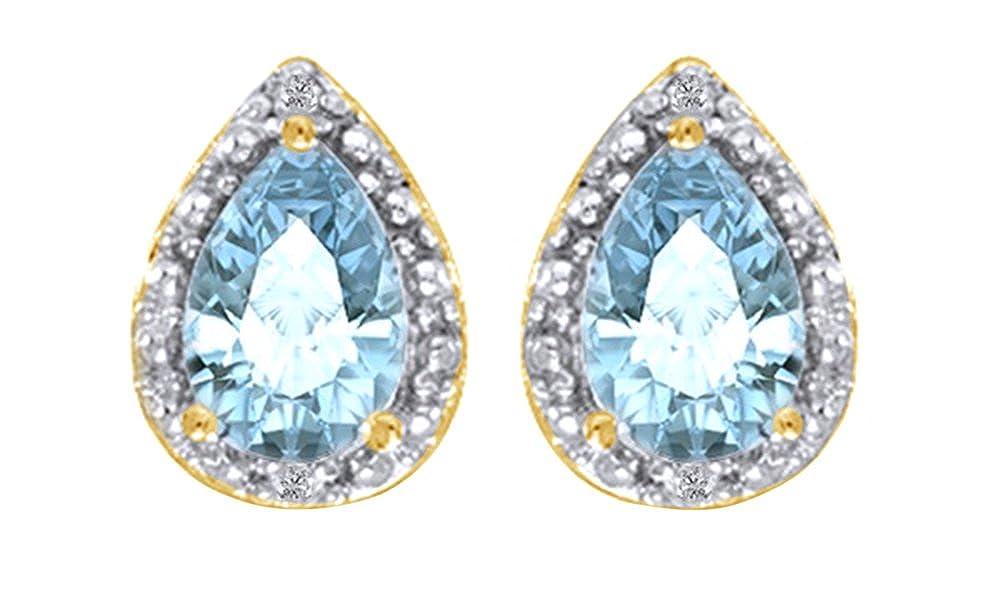 14 Karat (585) GelbGold Tropfenschliff Simuliert Aquamarin & Weiß natürlicher Diamant Ohrstecker in 14 ct 585 Weiß Gold massiv (1 Karat)