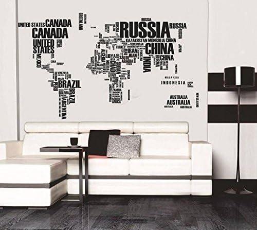 Zooarts letras negras Mapa del Mundo Extraíble de pared adhesivo ...