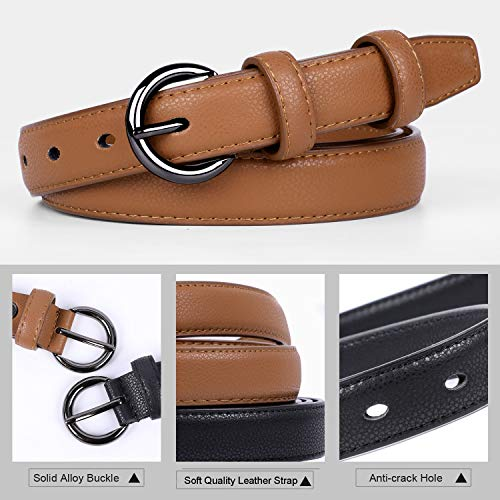 WERFORU Ladies Thin Leather Belt for Jeans Dress Simple Waist Belt for Women(A-Black+Brown, pants size 25-30 Inches)