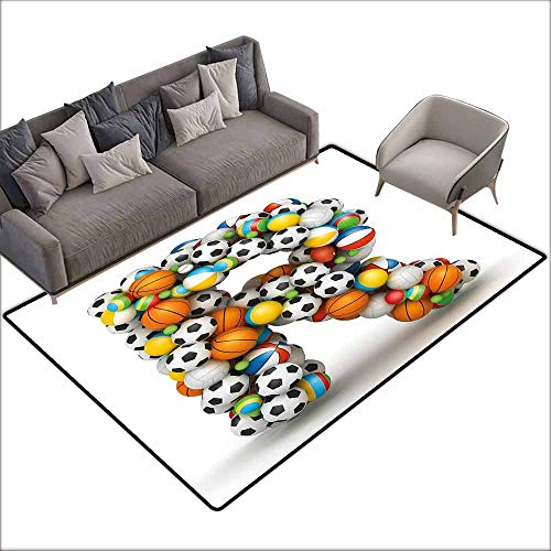 Anti Slip House Kitchen Door Area Rug Letter R,Realistic Looking Volleyball Basketball Soccer Balls Language of The Game Theme,Multicolor 80