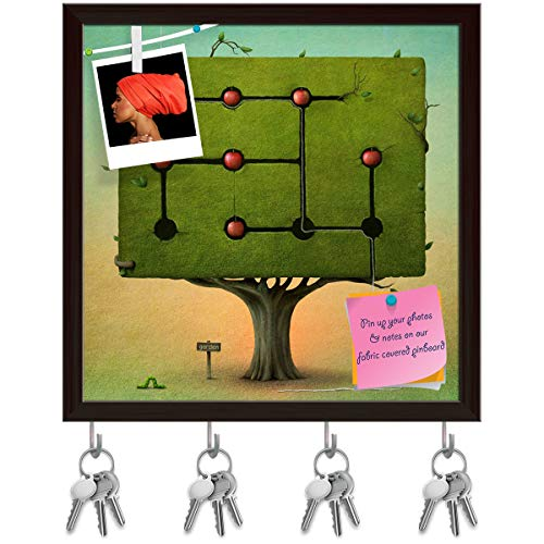 Apple Tree Bulletin Board - ArtzFolio Green Tree with Red Apples Key Holder Hooks Cum Bulletin Notice Pin Board Cum Dark Brown Framed Painting 10 x 10inch