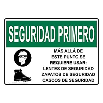 OSHA Safety First Safety Glasses Safety Shoes Spanish Sign with Spanish Text and Symbol Safety Label Decal Sticker Vinyl Label 12 X 18 Inches: Amazon.com: ...