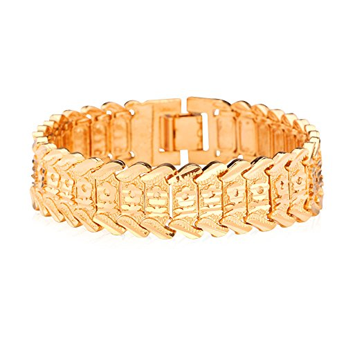 Heart Carving Plated Wristband Bracelet