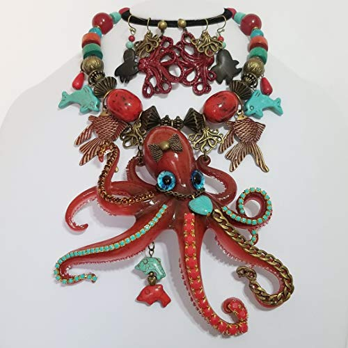 Claire Kern Creations Big Red Octopus Signed Gemstone Bib Necklace 3 x Earrings One of a - Signed Stone